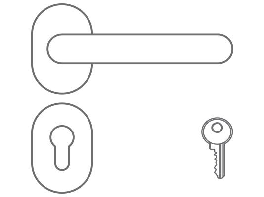 Maniglia in acciaio inox satinata e serratura a cilindrio con chiave