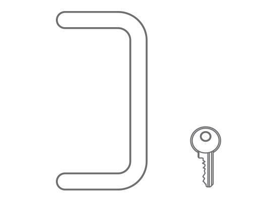 Maniglia in acciaio inox satinata e serratura a cilindro con chiave