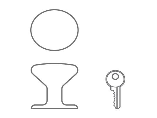 Pomolo in acciaio inox lucido e serratura a cilindro con chiave