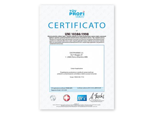 Certificato UNI 10386